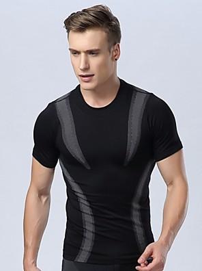 corpo apertado moldar uma leve pressão esporte secagem rápida respirável confortável de manga curta masculina