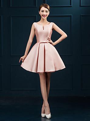 Coquetel Vestido De Baile Decote em U Curto / Mini Cetim com Faixa / Fita