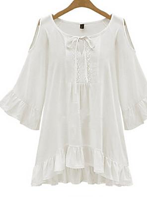 אחיד צווארון U פשוטה יום יומי\קז'ואל / מידות גדולות חולצה נשים,קיץ אורך חצי שרוול לבן / שחור דק כותנה