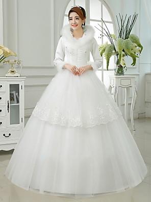 De Baile Vestido de Noiva Até o Tornozelo Gola Alta Algodão / Organza / Cetim com