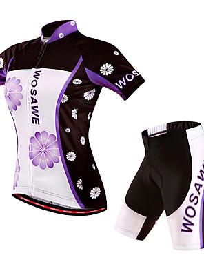 Wosawe® חולצת ג'רסי ומכנס קצר לרכיבה לנשים שרוול קצר אופניים נושם / ייבוש מהיר / עמיד / 3D לוחחולצה+שורטס / שורטים (מכנסיים קצרים)