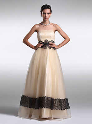 TS couture® 공식적인 저녁 드레스 플러스 사이즈 / 드레이프와 라인 / 공주 끈이 바닥 길이 오간자 아담 형 / 레이스