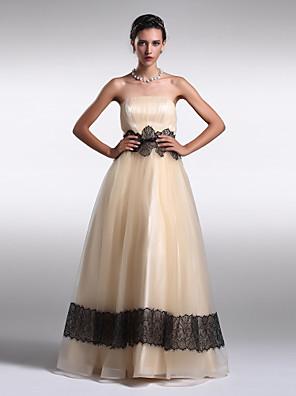ts couture® formel aften kjole plus size / kort a-line / prinsesse stropløs gulvlang organza med drapering / blonder