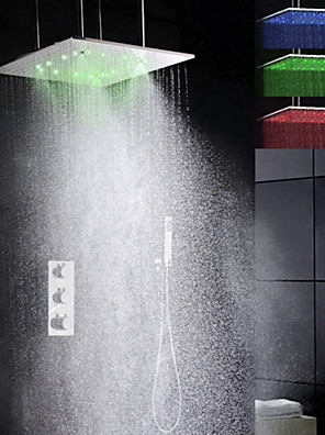 Douchekraan - Modern - LED / Thermostatisch / Regendouche / Inclusief handdouche - Messing (Chroom)
