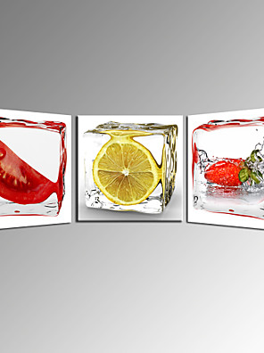 arte de la pared de verduras y frutas de la lona para la decoración de la cocina de limón listo para colgar