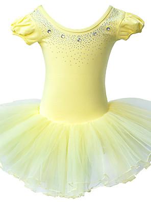 Dívka je Jednobarevné Celoročně Šaty Bavlna / Šifon Růžová / Žlutá