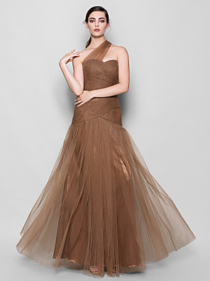 Floor-length Tulle Bridesmaid Dress Fit & Flare One Shoulder Plus Size / Petite with Criss Cross