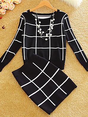 עבה חורף כותנה שרוול ארוך צווארון עגול צבעוני משובץ דמקה שמלה רגיל נשים מיקרו-אלסטי