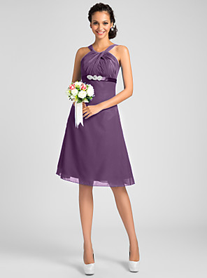 Knee-length Chiffon Bridesmaid Dress A-line / Princess Jewel / Straps Plus Size / Petite with Beading / Sash / Ribbon / Criss Cross