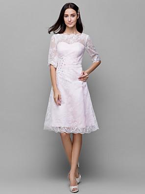 Knee-length Lace / Satin Bridesmaid Dress A-line Bateau with Beading / Lace