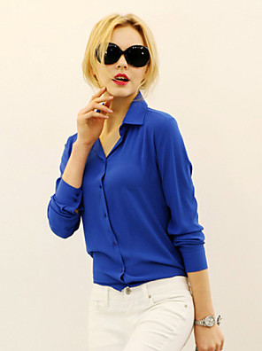 Women's Casual/Daily Simple Fall Shirt,Solid Shirt Collar Long Sleeve Blue / Red / White / Black / Yellow Medium