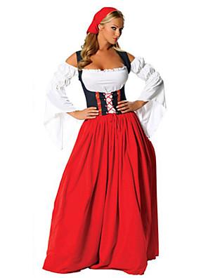 תחפושות קוספליי / תחפושת למסיבה פסטיבל אוקטובר פסטיבל/חג תחפושות ליל כל הקדושים אדום טלאים שמלה / כיסוי ראשהאלווין (ליל כל הקדושים) / חג