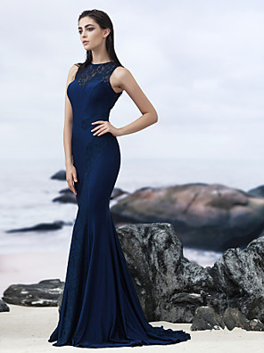 TS Couture® Formal Evening / Black Tie Gala Dress Trumpet / Mermaid Jewel Sweep / Brush Train Lace with Lace