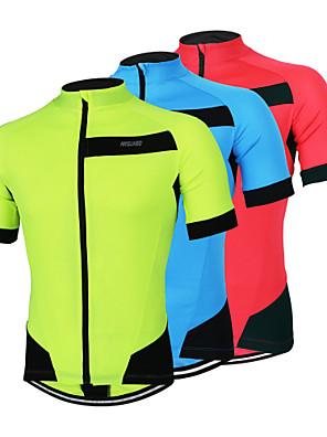 Arsuxeo® Camisa para Ciclismo Homens Manga Curta MotoRespirável / Secagem Rápida / Design Anatômico / Zíper Frontal / Bolso Traseiro /