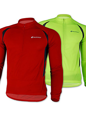 NUCKILY® חולצת ג'רסי לרכיבה לגברים שרוול ארוך אופניים נושם / שמור על חום הגוף / ייבוש מהיר / רוכסן קדמי / לביש ג'קט / ג'רזי / צמרות100%