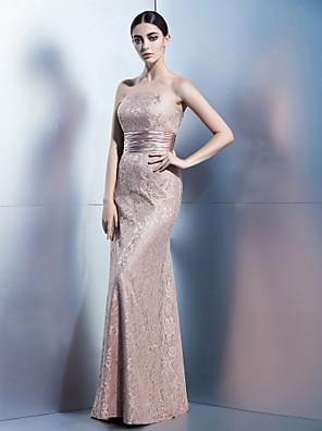 레이스와 TS couture® 공식적인 이브닝 드레스 칼집 / 칼럼 끈이 바닥 길이 레이스