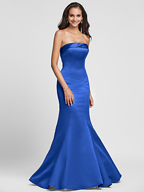 Lanting Bride® Floor-length Satin Bridesmaid Dress - Lace-up Trumpet / Mermaid Strapless Plus Size / Petite with Side Draping