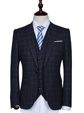 Suits Moderno Notch/ Paletó Comum 1 Butão Polyester / Rayon (T / R) Xadrez Gingham 3 Peças Azul Escuro Lapela Reta Uma Prega Uma Prega