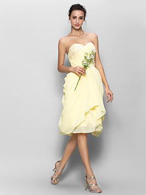 Lanting Bride® Ke kolenům Šifón Šaty pro družičky - A-Linie Srdce s Aplikace / Boční řasení