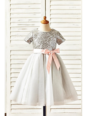 A-line Knee-length Flower Girl Dress - Tulle / Sequined Short Sleeve Jewel with