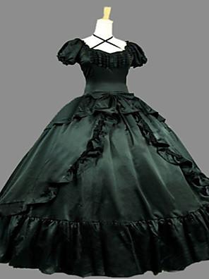 Uma-Peça/Vestidos Gótica Steampunk® / Vitoriano Cosplay Vestidos Lolita Tinta Azul Vintage Manga Curta Comprimento Longo Vestido Para