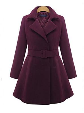 Mulheres Casaco Tamanhos Grandes Inverno,Sólido Vermelho / Preto Lã / Outros Colarinho de Camisa-Manga Longa Grossa