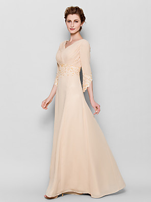Sheath / Column Plus Size / Petite Mother of the Bride Dress Floor-length 3/4 Length Sleeve Chiffon with Appliques / Criss Cross