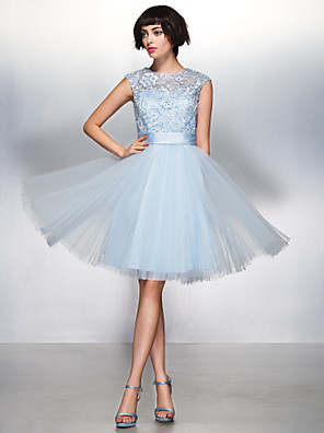 TS Couture® Cocktail Party Dress - Beautiful Back A-line Jewel Knee-length Lace / Tulle with Lace