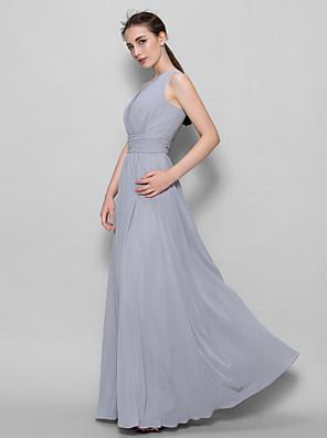 발목 길이 조젯 신부 들러리 드레스 A-라인 스쿱 와 드레이핑 / 루시 주름 장식