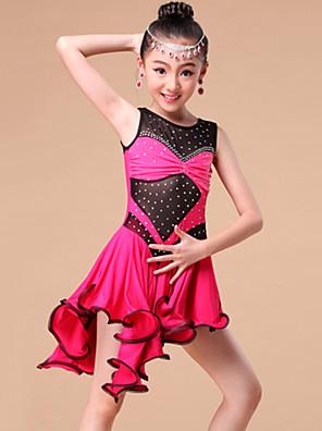 Dança Latina Vestidos e Saias Crianças Actuação / Treino Fibra de Leite Cristal/Strass / Amarrotado 1 Peça Sem Mangas VestidosS:68cm /