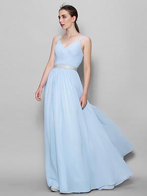 Lanting Bride® Na zem Šifón Šaty pro družičky A-Linie Popruhy s Křížení
