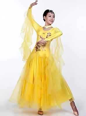 Dança de Salão Roupa Mulheres Actuação Elastano Apliques / Cristal/Strass 2 Peças Manga Comprida Vestidos / NeckwearDress length S:126m /
