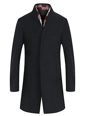 Herren Mantel-Einfarbig Freizeit / Büro / Formal / Übergröße Wolle / Tweed Lang-Schwarz / Grau