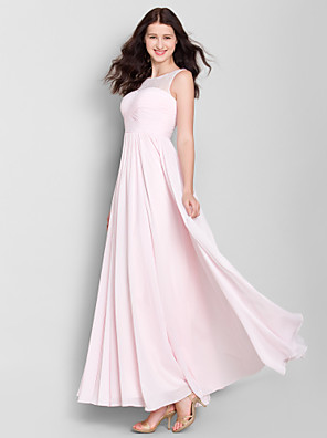 Ankle-length Chiffon Bridesmaid Dress A-line Scoop with Lace / Criss Cross