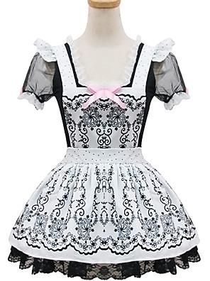 /שמלותחתיכה אחת / חליפות חדרניות לוליטה קלאסית ומסורתית לוליטה Cosplay שמלות לוליטה אפור דפוס / קולור בלוק שרוול קצר אורך קצר שמלה ל נשים