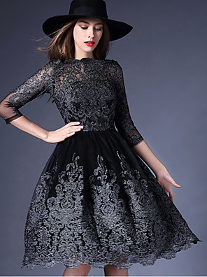 Women's Party/Cocktail Vintage A Line Dress,Jacquard Round Neck Above Knee Long Sleeve Black Silk All Seasons