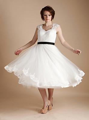 A-line Wedding Dress - Ivory Tea-length Straps Lace / Tulle