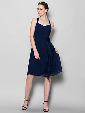 Lanting Bride® באורך  הברך שיפון שמלה לשושבינה - גזרת A קולר עם פרח(ים) / בד בהצלבה