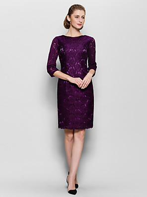 Sheath / Column Mother of the Bride Dress Knee-length Half Sleeve Lace with Lace