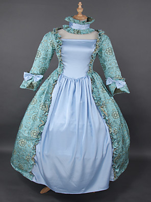 Uma-Peça/Vestidos Gótica Steampunk® / Rococo Cosplay Vestidos Lolita Azul Céu Cor Única Manga Comprida Comprimento Longo Vestido Para