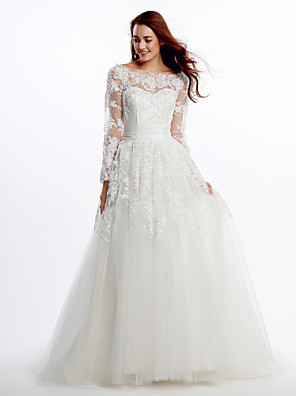 Lanting Bride® A-line Wedding Dress Court Train Scoop Lace / Tulle with Lace / Appliques