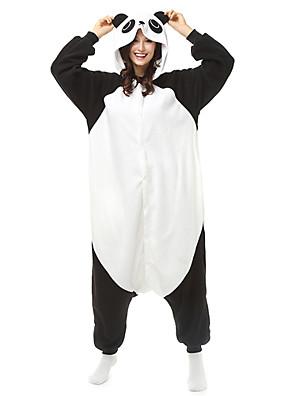 Kigurumi Pyjamas Panda Gymnastikanzug/Einteiler Fest/Feiertage Tiernachtwäsche Halloween Schwarz/Weiß Patchwork / Einfarbig Polar-Fleece