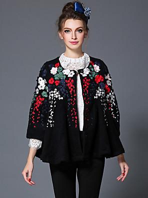aofuli vinter broderet uldne kvinder europa high fashion vintage patchwork plus size løs Thicken frakke