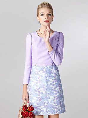 Sheath / Column Mother of the Bride Dress Short / Mini Long Sleeve Polyester with Pattern / Print