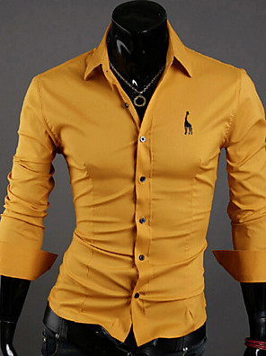 Men's Plus Size Casual/Work Slim Fit Solid Long Sleeve Shirt