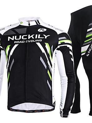 NUCKILY® חולצה וטייץ לרכיבה לנשים / לגברים שרוול ארוך אופנייםנושם / ייבוש מהיר / עמיד / עיצוב אנטומי / רוכסן קדמי / לביש / חומרים קלים /