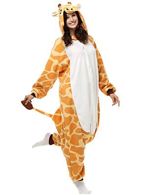 Kigurumi Pyjamas Giraf Trikot/Heldragtskostumer Festival/Højtider Animal Nattøj Halloween Gul Patchwork Polar Fleece Kigurumi For Unisex