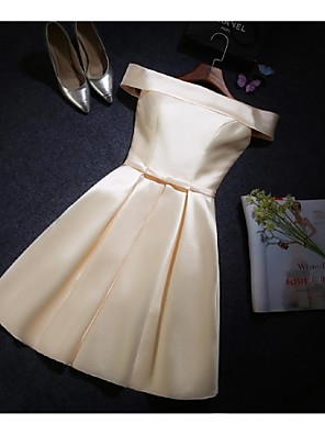 באורך  הברך סאטן שמלה לשושבינה - גזרת A מתחת לכתפיים עם פפיון(ים)