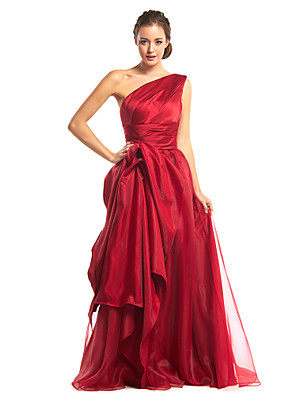 TS Couture® Formal Evening Dress A-line One Shoulder Floor-length Organza / Satin with Side Draping