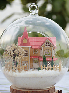 בקתה רומנטית זכוכית בית הצעצוע התאסף בובות עץ DIY כוללים כל מנורת אורות רהיטים הובילה